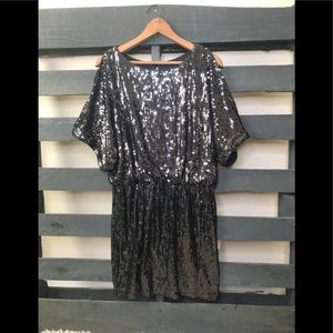 aa8d237ceed663 Cache sequined cold shoulder dress size 12